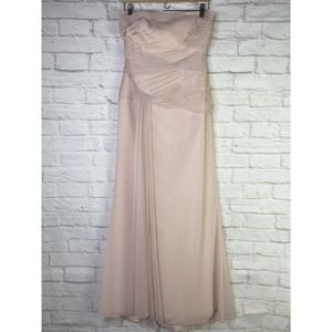 WHITE BY VERA WANG LIGHT PINK PLEATED TULLE DRESS